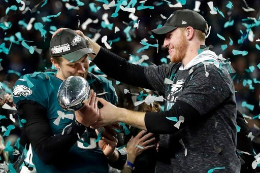 (AP Photo/Frank Franklin II, FIle). FILE - In this Sunday, Feb. 4, 2018, file photo, Philadelphia Eagles quarterback Carson Wentz, right, hands the Vincent Lombardi trophy to Nick Foles after winning the NFL Super Bowl 52 football game against the New ...