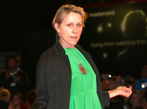 (Photo by Joel Ryan/Invision/AP, File). FILE - In this Sept. 4, 2017 file photo, actress Frances McDormand poses for photographers at the premiere of ''Three Billboards Outside Ebbing Missouri', during the 74th edition of the Venice Film Festival in Ve...