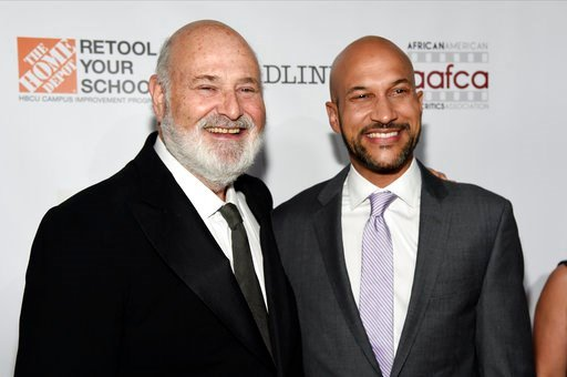 (Photo by Chris Pizzello/Invision/AP). Filmmaker Rob Reiner, left, recipient of the Stanley Kramer Award for Social Justice, poses with actor/comedian Keegan-Michael Key at the 9th Annual African American Film Critics Association Awards on Wednesday, F...