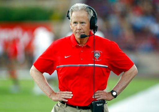 (AP Photo/Andres Leighton, File). FILE - In this Sept. 10, 2016, file photo New Mexico coach Bob Davie walks in the sideline during the first half of an NCAA college football game against New Mexico State in Las Cruces, N.M. The University of New Mexic...