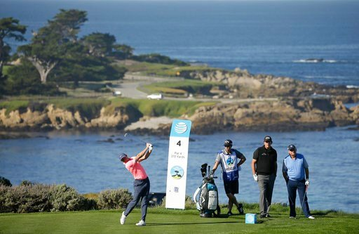 (AP Photo/Eric Risberg). Rory McIlroy, of Northern Ireland. hits from the fourth tee of the Spyglass Hill Golf Course during the first round of the AT&T Pebble Beach National Pro-Am golf tournament Thursday, Feb. 8, 2018, in Pebble Beach, Calif. Lo...