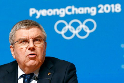 (AP Photo/Patrick Semansky). International Olympic Committee President Thomas Bach speaks at a news conference prior to the 2018 Winter Olympics in Pyeongchang, South Korea, Wednesday, Feb. 7, 2018.