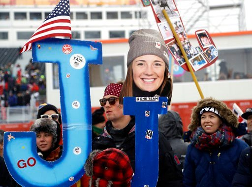 (AP Photo/Gregory Bull). Fans hold a photo of JaelinKauf, of the United States, prior to the women's moguls qualifying at the 2018 Winter Olympics in Pyeongchang, South Korea, Friday, Feb. 9, 2018.