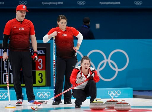 (AP Photo/Aaron Favila). Switzerland Jenny Perret, right, shouts instructions as United States' siblings Matt Hamilton, right and Becca watch during their mixed doubles curling match at the 2018 Winter Olympics in Gangneung, South Korea, Friday, Feb. 9...