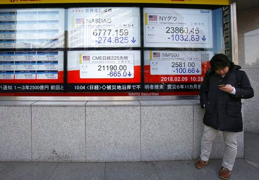 (AP Photo/Koji Sasahara). A man stands in front of electronic stock board of a securities firm in Tokyo, Friday, Feb. 9, 2018. Asian shares have opened lower and are tracking the overnight plunge on Wall Street.  The Dow Jones industrial average plunge...