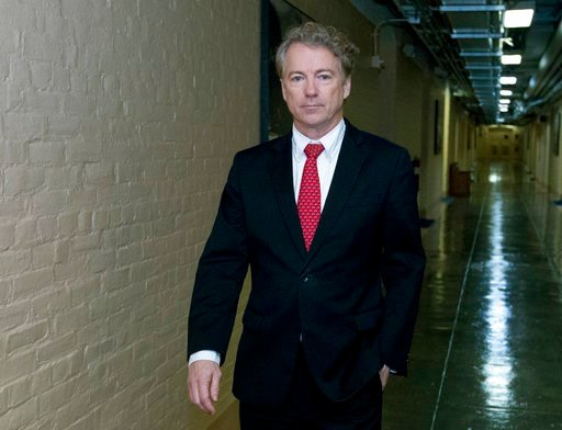 (AP Photo/Jose Luis Magana). Sen. Rand Paul, R-Ky., walks to his office after speaking in the senate floor, at the Capitol, Thursday, Feb. 8, 2018, in Washington.