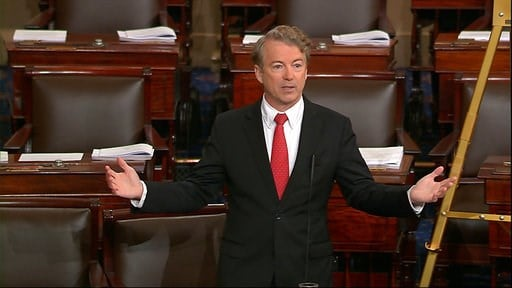 (Senate TV via AP). In this image from video from Senate Television, Sen. Rand Paul, R-Ky., speaks on the floor of the Senate Thursday, Feb. 8, 2018, on Capitol Hill in Washington.