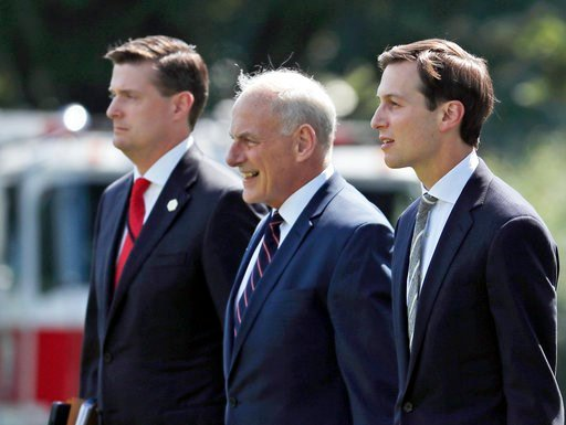 (AP Photo/Alex Brandon). FILE - In this Aug. 4, 2017 file photo, from left, White House Staff Secretary Rob Porter, White House Chief of Staff John Kelly, and White House senior adviser Jared Kushner walk to Marine One on the South Lawn of the White Ho...