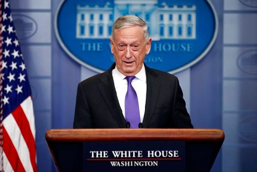 (AP Photo/Carolyn Kaster). In this Feb. 7, 2018, photo, Defense Secretary Jim Mattis speaks during the daily news briefing at the White House, in Washington. Mattis says he confirmed that the nearly 850 immigrants currently serving in the military or w...
