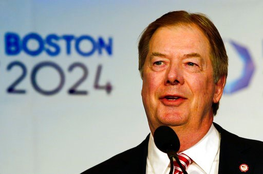 (AP Photo/Winslow Townson, File). FILE - In this Jan. 9, 2015 file photo, USOC Chairman of the Board Larry Probst speaks during a news conference in Boston after Boston was picked by the USOC as its bid city for the 2024 Olympic Summer Games. Leaders o...