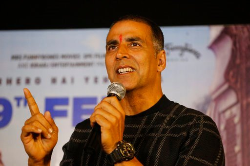 "(AP Photo/Ajit Solanki, File). File - In this Feb. 9, 2018, file photo, Bollywood actor Akshay Kumar speaks during a press conference to promote his upcoming movie ""Pad Man"" in Ahmadabad, India."