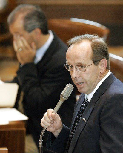 (AP Photo/Rick Bowmer, file). FILE--In this July 8, 2005, file photo, Sen. Jeff Kruse, R-Roseburg, makes remarks before a vote at the state Capitol, in Salem, Ore. Kruse subjected two female senators to unwanted touching and groped or gave lingering hu...
