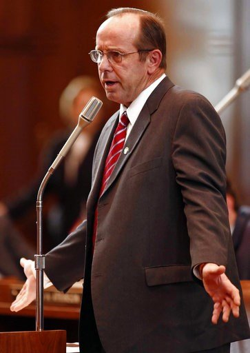 (Timothy J. Gonzalez/The Statesman Journal via AP, file). FILE -- In this Feb. 14, 2012 file photo, Sen. Jeff Kruse, R-Roseburg, speaks at the Capitol in Salem, Ore. Kruse subjected two female senators to unwanted touching and groped or gave lingering ...