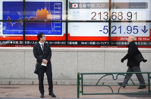 (AP Photo/Koji Sasahara). A man looks at an electronic stock board of a securities firm in Tokyo, Friday, Feb. 9, 2018. Asian shares have opened lower and are tracking the overnight plunge on Wall Street.  The Dow Jones industrial average plunged more ...