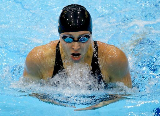 (AP Photo/Lee Jin-man, File). FILE - In this July 30, 2012, file photo, United States' Ariana Kukors competes in a women's 200-meter individual medley swimming heat at the Aquatics Centre in the Olympic Park during the Summer Olympics in London. Invest...