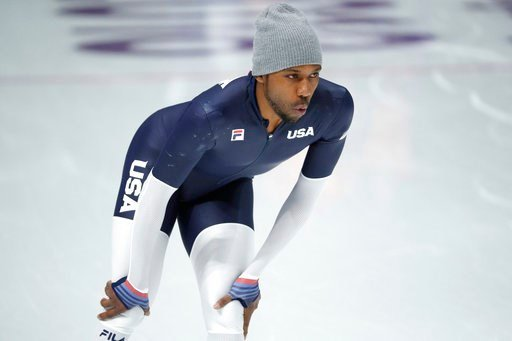 (AP Photo/John Locher). Shani Davis of the United States trains during a speed skating training session prior to the 2018 Winter Olympics in Gangneung, South Korea, Friday, Feb. 9, 2018.