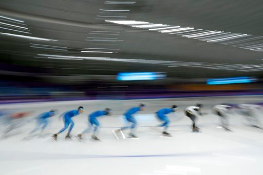 (AP Photo/John Locher). Speed skaters train at the Gangneung Oval during a speed skating training session prior to the 2018 Winter Olympics in Gangneung, South Korea, Friday, Feb. 9, 2018.