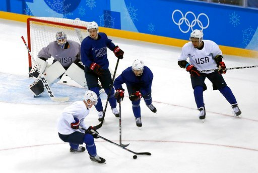(AP Photo/Kiichiro Sato). Members of the United States men's hockey team practice ahead of the 2018 Winter Olympics in Gangneung, South Korea, Friday, Feb. 9, 2018.