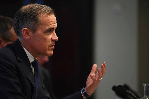 (Victoria Jones/Pool Photo via AP). Bank of England Governor Mark Carney speaks during the central bank's quarterly inflation report press conference in the City of London, Thursday Feb. 8, 2018. The British pound has risen sharply after the Bank of En...