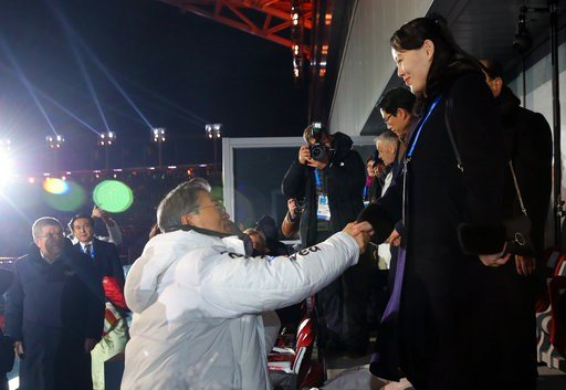 (Kim Ju-sung/Yonhap via AP). South Korean President Moon Jae-in, left, shakes hands with North Korean leader Kim Jong Un's younger sister Kim Yo Jong during the opening ceremony of the 2018 Winter Olympics in Pyeongchang, South Korea, Friday, Feb. 9, 2...