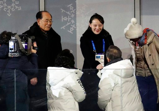 (Park Dong-ju/Yonhap via AP). South Korean President Moon Jae-in, bottom right, shakes hands with North Korean leader Kim Jong Un's younger sister Kim Yo Jong during the opening ceremony of the 2018 Winter Olympics, in Pyeongchang, South Korea, Friday,...