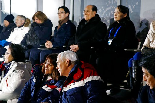 (AP Photo/Patrick Semansky, Pool). Vice President Mike Pence, bottom right, speaks with second lady Karen Pence at the opening ceremony of the 2018 Winter Olympics in Pyeongchang, South Korea, Friday, Feb. 9, 2018. Seated behind Pence are Kim Yong Nam,...