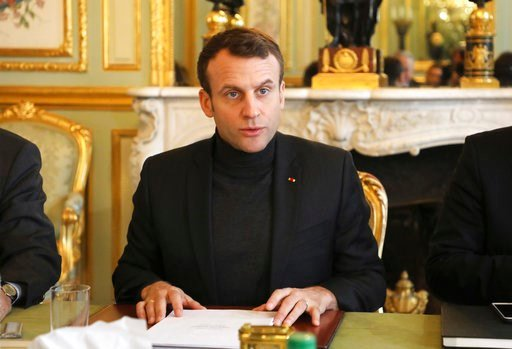 (Ludovic Marin, Pool via AP). French president Emmanuel Macron speaks during a Trianon Council meeting aiming to strengthen the links between France and Russia, Friday Feb. 9, 2018, at the Elysee palace in Paris. The Kremlin said Friday the two leaders...