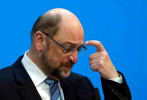 (AP Photo/Ferdinand Ostrop). In this Wednesday, Feb. 7, 2018 photo Martin Schulz, chairman of the Social Democratic Party, SPD, scratches his head during a press statement in Berlin. Martin Schulz, the leader of Germany's center-left Social Democrats, ...