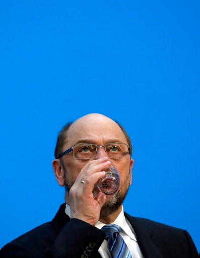 (AP Photo/Ferdinand Ostrop). In this Wednesday, Feb. 7, 2018 photo Martin Schulz, chairman of the Social Democratic Party, SPD, drinks water during a press statement  in Berlin. Martin Schulz, the leader of Germany's center-left Social Democrats, said ...