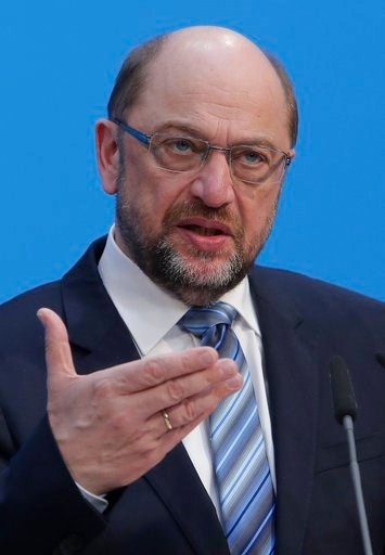 (AP Photo/Ferdinand Ostrop,file). Martin Schulz, chairman of the Social Democratic Party, SPD, speaks during a press statement in Berlin, Germany, Wednesday, Feb. 7, 2018. Martin Schulz, the leader of Germany's center-left Social Democrats, said Friday...