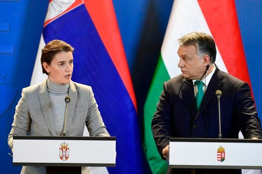(Zsolt Szigetvary/MTI via AP). Prime Minister of Serbia Ana Brnabic, left, and Hungarian Prime Minister Viktor Orban hold a joint press conference following a bilateral governmental summit of Hungary and Serbia in Budapest, Hungary, Friday, Feb. 9, 2018.