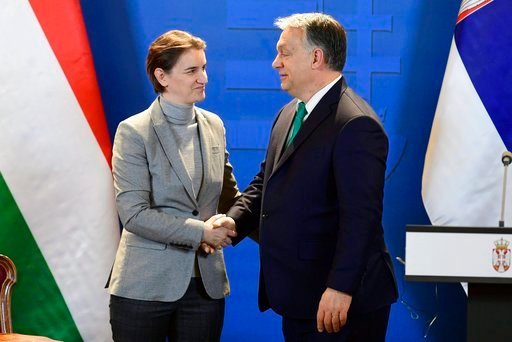 (Zsolt Szigetvary/MTI via AP). Prime Minister of Serbia Ana Brnabic, left, and Hungarian Prime Minister Viktor Orban shake hands during a joint press conference following a bilateral governmental summit of Hungary and Serbia in Budapest, Hungary, Frida...