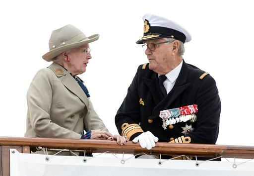 (Mikkel Berg Pedersen/Ritzau via AP, File). FILE - In this June 23, 2017 file photo Danish Queen Margrethe and Prince Henrik arrive at Aarhus Harbour aboard the Royal Yacht Dannebrog. Denmark's royal palace says Crown Prince Frederik has left the Winte...