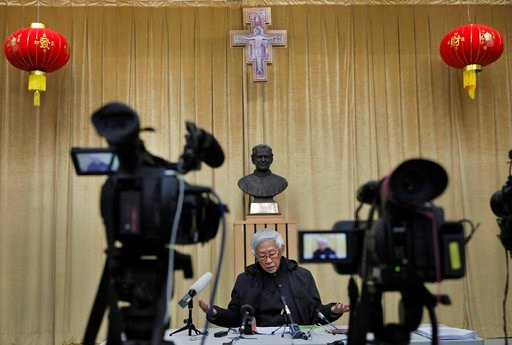 (AP Photo/Vincent Yu). Retired archbishop of Hong Kong Cardinal Joseph Zen gestures during an interview in Hong Kong, Friday, Feb. 9, 2018. Zen has warned that a deal between the Vatican and China that cedes too much power to Beijing would place the co...