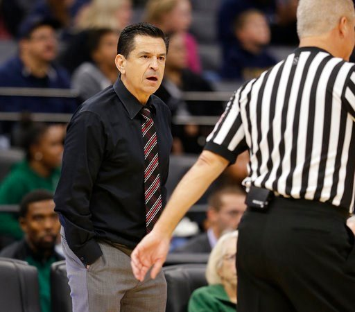 (AP Photo/Rich Pedroncelli, file). FILE - In this Nov. 21, 2017, file photo, Sacramento State head coach Brian Katz questions an official about a call during the first half of an NCAA college basketball game against the University of California, Davis ...