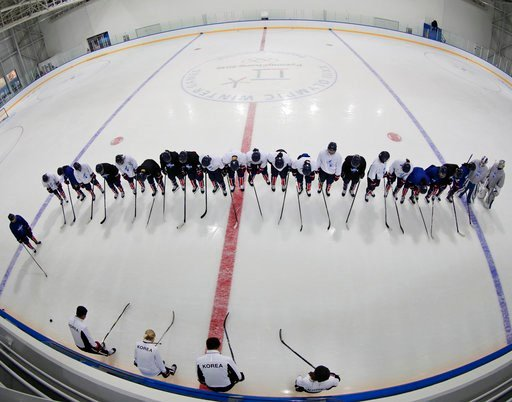 (AP Photo/Frank Franklin II). Members of the combined Koreas women's hockey team end practice prior to the 2018 Winter Olympics in Gangneung, South Korea, Friday, Feb. 9, 2018.