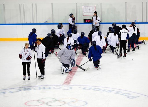 (AP Photo/Frank Franklin II). Members of the combined Koreas women's hockey team practice prior to the 2018 Winter Olympics in Gangneung, South Korea, Friday, Feb. 9, 2018.