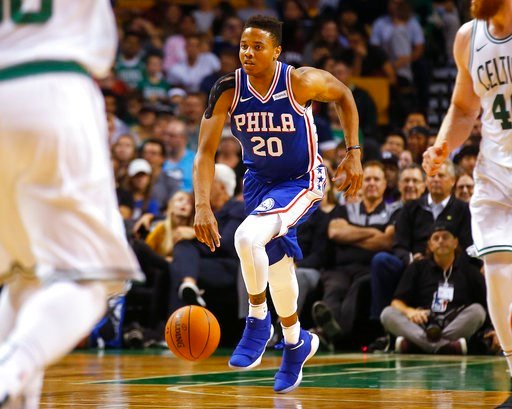 (AP Photo/Winslow Townson, File). FILE - In this Oct. 9, 2017, file photo, Philadelphia 76ers guard Markelle Fultz dribbles during the first quarter of a preseason NBA basketball game against the Boston Celtics in Boston. Fultz, the top overall pick in...