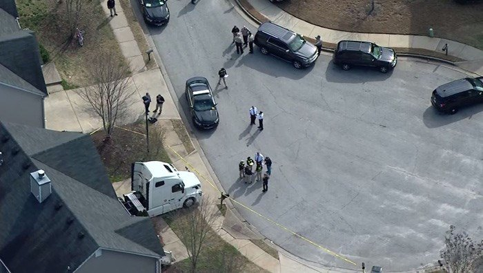 Authorities say multiple officers have been shot and a suspect is dead south of Atlanta. (Source: WGCL/CNN)