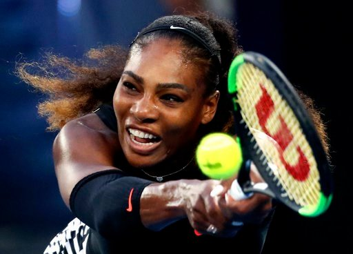 (AP Photo/Aaron Favila, File). FILE - In this Jan. 28, 2017, file photo, Serena Williams makes a backhand return to her sister Venus during the women's singles final at the Australian Open tennis championships in Melbourne, Australia. Five months after...