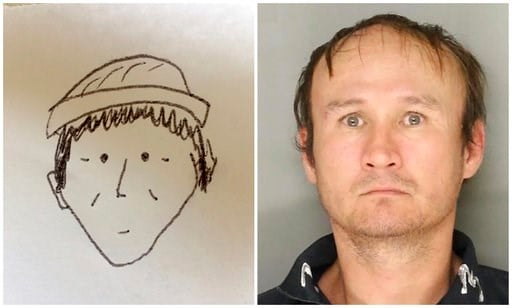 (Lancaster City Bureau of Police via AP). This combination of photos provided by the Lancaster City Bureau of Police in Lancaster, Pa., shows a 2018 sketch drawn by an unnamed witness, left, of a suspect in the Jan. 30, 2018, theft of an undisclosed am...