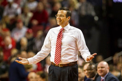(AP Photo/John Peterson, File). FILE - In this Dec. 16, 2017, file photo, Nebraska head coach Tim Miles reacts to a referee call in the game against Kansas during the first half of an NCAA college basketball game in Lincoln, Neb. The Nebraska men's bas...