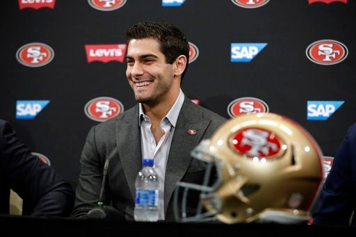 (AP Photo/Marcio Jose Sanchez). San Francisco 49ers quarterback Jimmy Garoppolo smiles during an NFL football press conference Friday, Feb. 9, 2018, in Santa Clara, Calif. Garoppolo has signed a five-year contract with the 49ers worth a record-breaking...