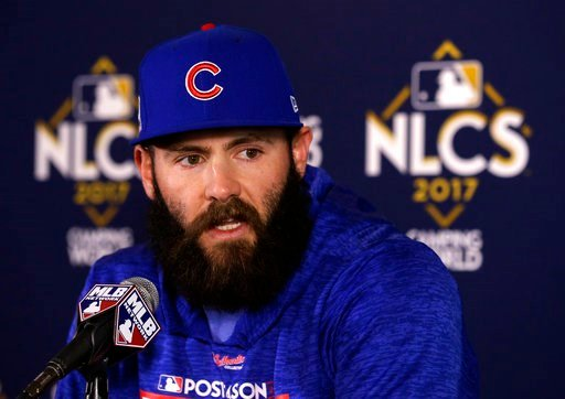 (AP Photo/Charles Rex Arbogast, File). FILE - In this Oct. 17, 2017, file photo, Chicago Cubs' Jake Arrieta talks during a news conference before Game 3 of baseball's National League Championship Series against the Los Angeles Dodgers, in Chicago. Perh...