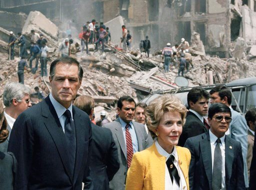 (AP Photo/Bob Daugherty, File). In this Sept. 24, 1985 file photo, first lady Nancy Reagan and U.S. Ambassador to Mexico John Gavin, left, view earthquake damage in Mexico City. Gavin died Friday, Feb. 9, 2017.