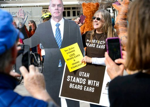 (Steve Griffin/The Salt Lake Tribune via AP). Supporters of Bears Ears with rally outside the Salt Palace Convention Center in Salt Lake City, Friday, Feb. 9, 2018, where U.S. Secretary of the Interior Ryan Zinke was scheduled to speak at the Western H...