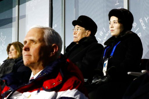 (AP Photo/Patrick Semansky, Pool). Kim Yo Jong, top right, sister of North Korean leader Kim Jong Un, sits alongside Kim Yong Nam, president of the Presidium of North Korean Parliament, and behind U.S. Vice President Mike Pence as she watches the openi...