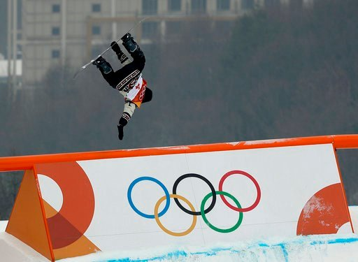 (AP Photo/Gregory Bull). SebastienToutant, of Canada, jumps during the men's slopestyle qualifying at Phoenix Snow Park at the 2018 Winter Olympics in Pyeongchang, South Korea, Saturday, Feb. 10, 2018.