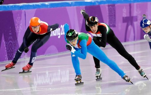 (AP Photo/David J. Phillip). Arianna Fontana of Italy leads the field during the ladies' 500 meters short-track speedskating in the Gangneung Ice Arena at the 2018 Winter Olympics in Gangneung, South Korea, Saturday, Feb. 10, 2018.