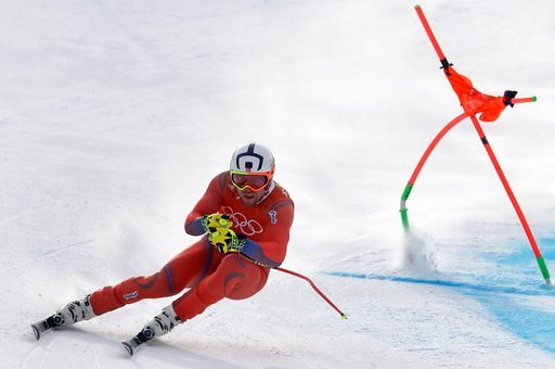 (AP Photo/Michael Probst). Norway's Aleksander Aamodt Kilde makes a turn during men's downhill training at the 2018 Winter Olympics in Jeongseon, South Korea, Saturday, Feb. 10, 2018.